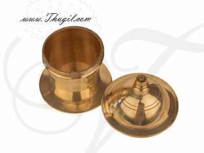 """Brass Kumkum Box Gift Holder Available online from India 2"""" Buy Now"""