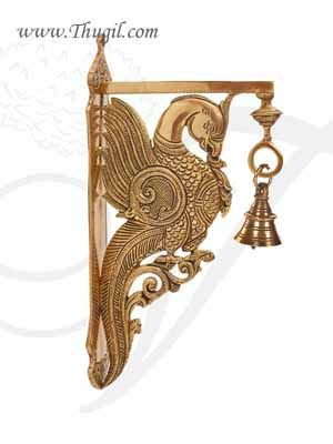 12 inches Brass Peacock Design Wall Mount Bracket with Bell Shop Online