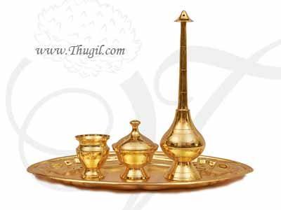 Gold Plated Paneer Chandan Kumkum Wedding Weclome Set Buy now