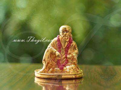 "2.5"" Deity Lord Saibaba Gold Plated Dashboard Figurines Idols Buy Now"