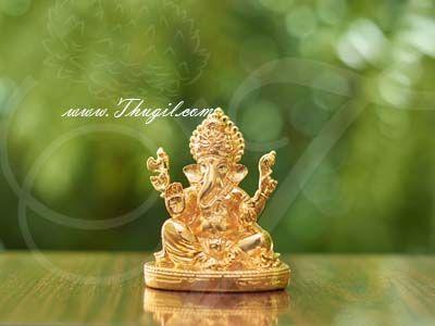 "3"" Deity Lord Ganesha Gold Plated Dashboard Figurines Idols"
