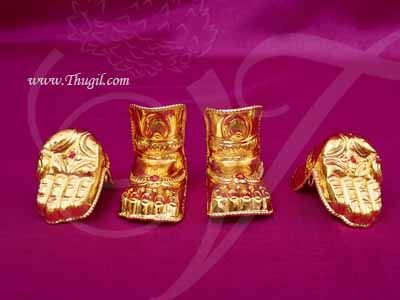 3-4 inches Hastham and Paatham Deity Idol Palm Feet Decoration Gold Plated Buy Online