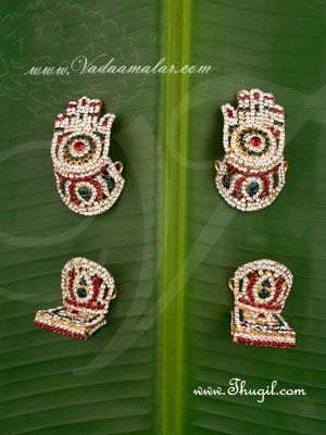 """1.5"""" Hastham and Paatham Deity Vigraha Palm Feet Decoration Temple Ornaments Buy Online"""