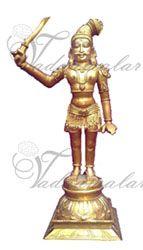Madurai Veeran Brass Statue Great Warrior Of South India Figurine