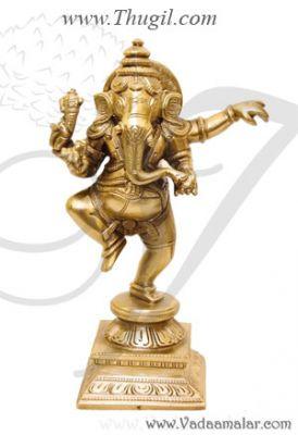 """6.8"""" Dancing Ganesha Brass Nritya Ganapati Statue In Dance Posture"""
