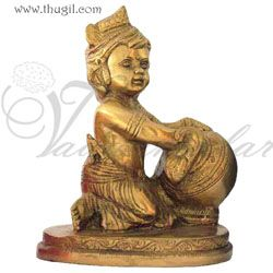 Little Baby Krishna Brass Statue In Butter Thief Posture