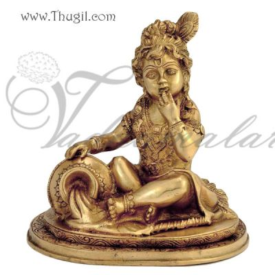 Lord Little Baby Krishna Brass Statue In Butter Thief Posture