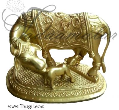"7"" Sacred Kamadhenu The Wish Fulfilling Cow Brass Sculpture"