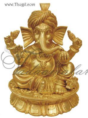 "7.5"" Ganapati Ganesha Brass Murthi"