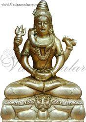 "9.5"" Hindu Lord  Shiva in Brass Full Metal Statue"