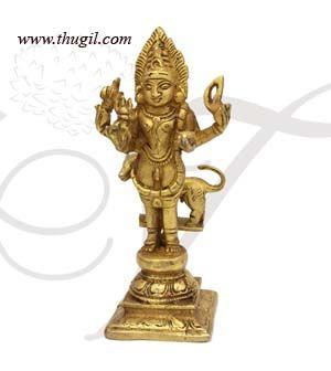 "6"" Lord Bhairavar with Dog Idol Murthi Brass Statue"