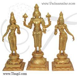 """12"""" Vishnu Sridevi & Bhoodevi Moorthi Brass idol"""