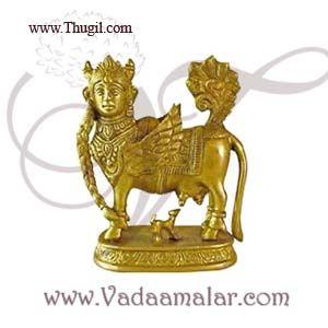 "4"" Sacred Kamadhenu The Wish Fulfilling Cow Brass Sculpture"