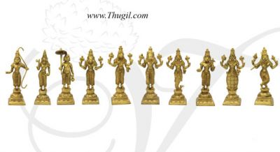 "5"" tall Dashavatara 10 Vishnu Avatars Idol Brass Statue Set"
