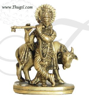 """4.4"""" Indian Lord  Krishna And  cow Home Decor Brass Decorative Statue"""