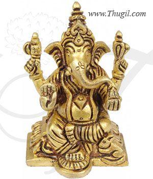 "2.8"" Lord Ganesha Ganesh Brass Statue"