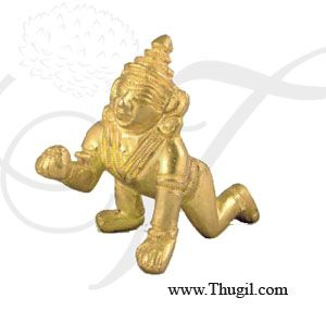 Laddu Gopal Brass Statue,Religious God brass Idol for Pooja