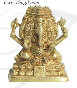 "2.8"" Five Faces Seated Ganesha Panchamukhi Ganesha Brass Statue"