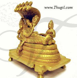 "5"" Long Lord Vishu Reclining Ranganathar Brass Statue"