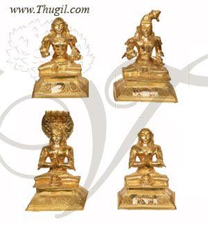 3' Brass Statue of Acharya- Swami Ramanuja, Swami Namazhwar, Swami Manavaalamamuuni, Swami Desikan