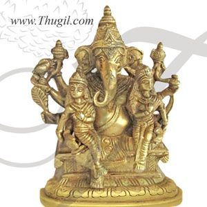 "3.2"" Shree Ganesha With Riddhi Siddhi Brass Statues"