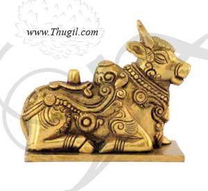"4"" Lord Nandi Shiva Bull Brass Statue"