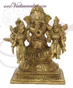 "Brass Shree Ganesha With Riddhi Siddhi Statues Buy Now 5"""