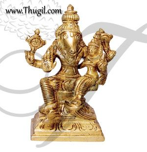 "Lord Hayagriva with Lakshmi Horse Face Vishnu Statue Brass - 3"""