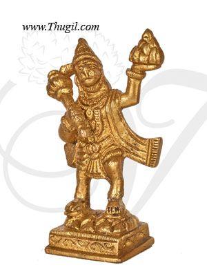 """3.5"""" Lord Hanuman Statue Brass Anjaneya Sculpture Brass"""