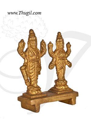 """2.2"""" Lord Vishnu & Lakshmi Brass idol"""
