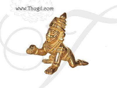 "1.8"" Lord Krishna Brass Statue Buy Online"