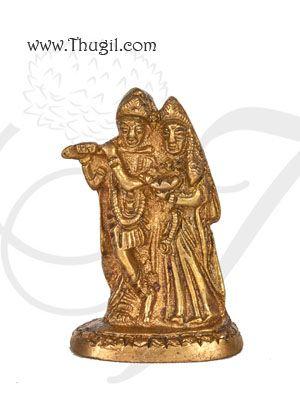 "2.4"" Lord Radha Krishna Home Decor Brass Statue"