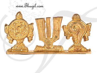 "1.8"" Brass Tirupati Balaji Shanku Chakra Naama Set"