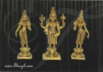 """Vishnu Sridevi & Bhoodevi Moorthi Brass idol Buy Now 5.5"""""""