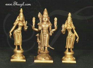 5 inches Murugan Valli Deivanai Brass Statue Available online