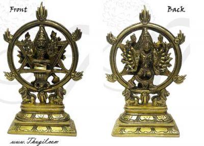 "6"" Chakrathazhwar Chakra Perumal Vishnu Brass Lord Hindu Idols Buy Now"