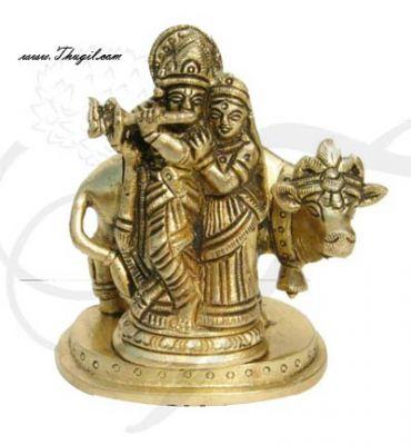 "4"" Indian Lord  Krishna and Radha Home Decor Brass Decorative Statue"