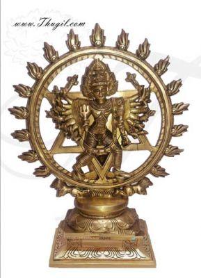 15 inches tall Brass Chakrathazhwar Chakra Perumal Vishnu Hindu Idols Buy Now