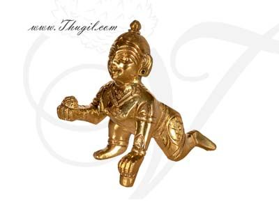 "3"" Lord Krishna Baby Krish Kanna Brass Statue"