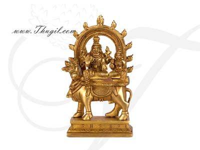 "5.3"" Hindu Lord  Shiva in Brass Full Metal Statue"