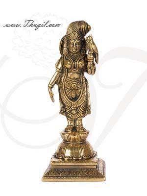 "6.5"" Brass Andal Nachiyar / Meenakshi Godha Devi Hindu Idol Statue Buy Now"