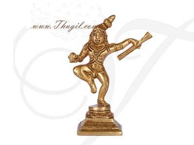 """4"""" Bala Krishna Golden Brass Dancing Statue Buy Now"""