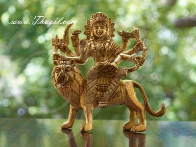 "5"" Goddess Durga Devi Hindu Religious Brass Idol Statue Buy Now"