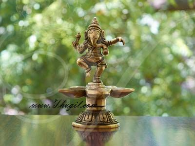 "5.5"" Ganesha Standing Brass Diya India Indian Gift"