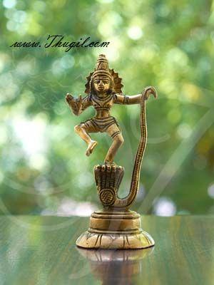 "4.5"" Lord Krishna Dancing on Serpent Snake Kaliya Brass Sculpture"