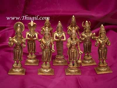 5.5 inch Navagraha Idols set in Brass Hindu Pooja Idols Buy online