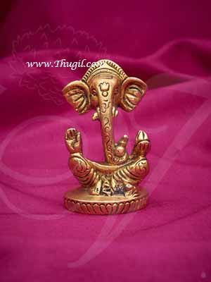 "3"" Lord Ganesha Brass Statue Ganapati Omkara Umaputra Harsha Idol Buy Now"