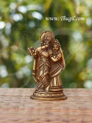 "3.5"" Lord Krishna Radha Statue in Brass Buy Online"
