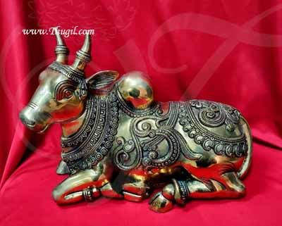 Lord Nandi Brass Statue India Bull Shop Online - 11 inches