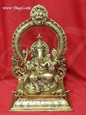 Lord Ganesha Brass Statue 12 inches Ganapathy Idol Buy Now